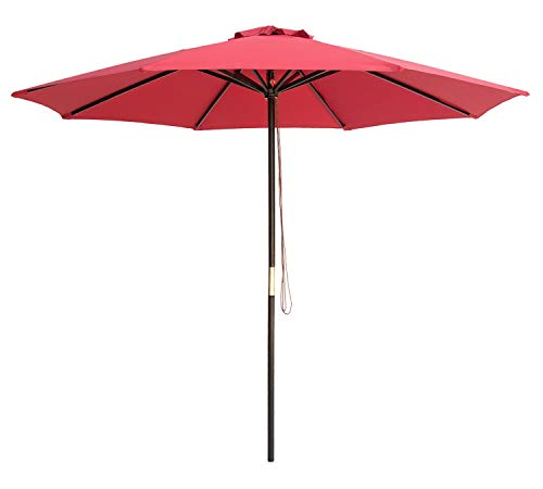 (SUNBRANO 9 Ft Wood Frame Patio Umbrella Outdoor Garden Cafe Market Table Umbrella Pulley Lift with Air Vent, 8 Ribs, Red )