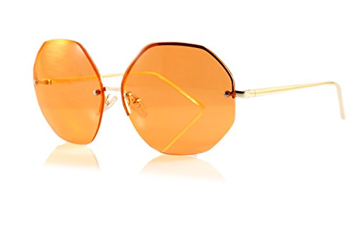 FBL Oversize Rimless Eye-Candy Color Octagon Round Sunglasses A100 - Sunglasses Lens Orange