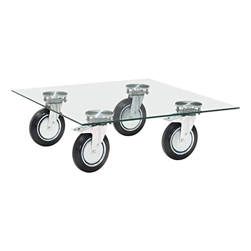 Zuo Modern 100755 Belle Coffee Table, Clear Glass Top, Wheel Base and Sleek Details, Transport it Easily From in Front of Your Sofa, 150 lbs Weight Capacity, Dimensions 40.2