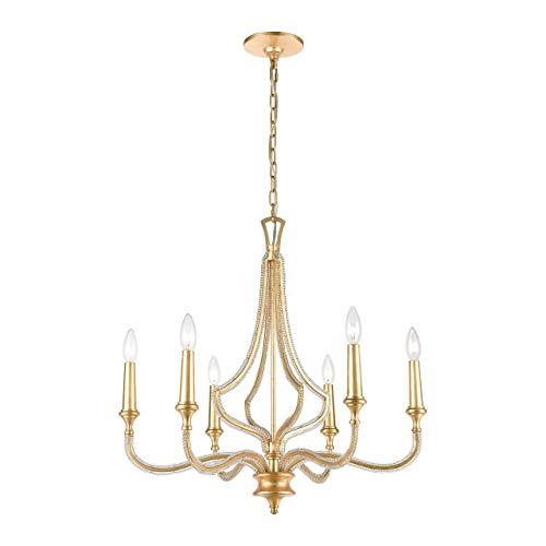 (Elk Lighting 11176/6 La Rochelle 6-Light Parisian Gold Leaf Chandelier,)
