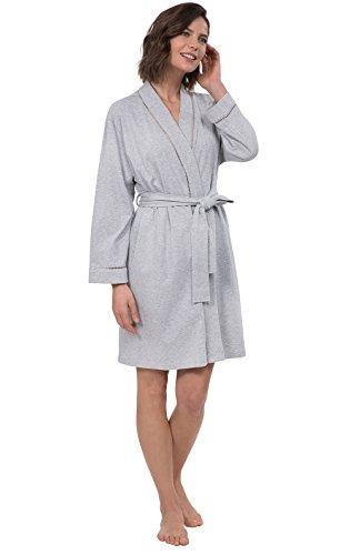 PajamaGram Robe Womens Soft Cotton - Short Women's Bathrobes, Grey, M/L, 8-14