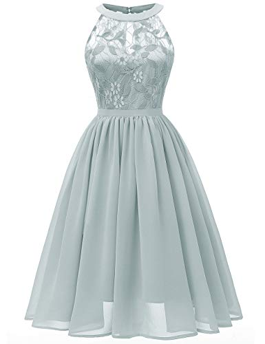 Kalin Women Floral Lace Chiffon Sleeveless Pleated Swing Formal Wedding Party Cocktail Dress Light Green