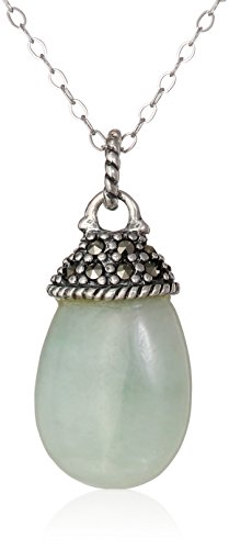 Sterling Silver Marcasite Green Jade Faceted Drop Rolo Chain Pendant Necklace, 18