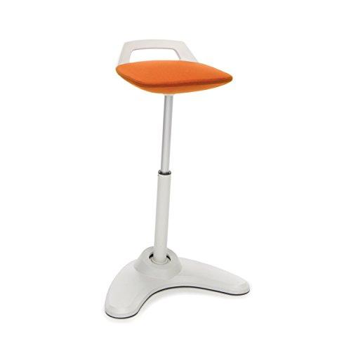 OFM VIVO Adjustable Height Bar Stool - Contemporary Perch Stool Chair, Orange with Cream Trim (Crm Trim)
