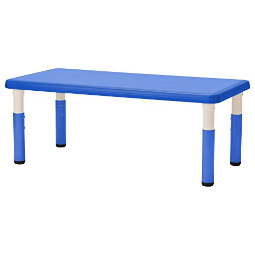 """ECR4Kids24"""" x 48"""" Rectangle Resin Activity Table - Indoor/Outdoor Kids Table for Classrooms, Daycares, Playgrounds, Blue"""