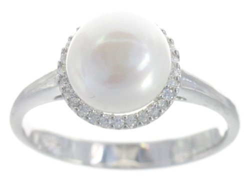 Classical 925 Sterling Silver 8.5mm Freshwater Cultured Pearl Women Ring with Cubic Zirconia/CZ