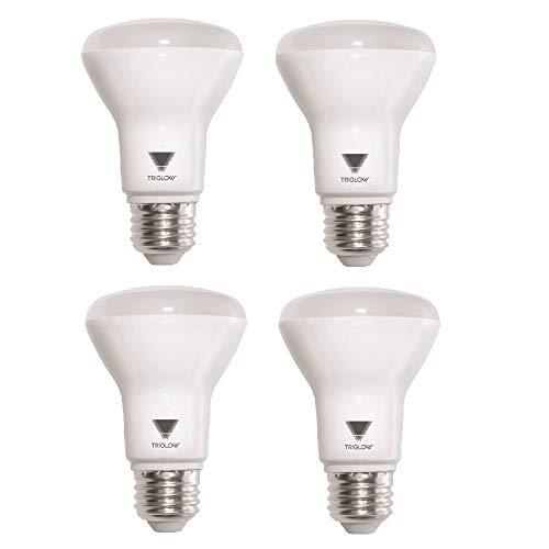 (TRIGLOW T99205 7-Watt (50-Watt) R20 Indoor Flood LED Dimmable Light Bulb, Soft white, 550 Lumens, 4-Pack)
