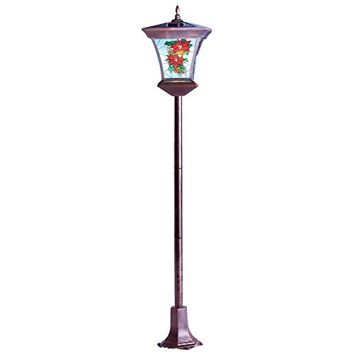 Holiday Poinsettia Lantern Solar Lamp Post Yard Stake with Stained Glass Design, Winter Outdoor Decor
