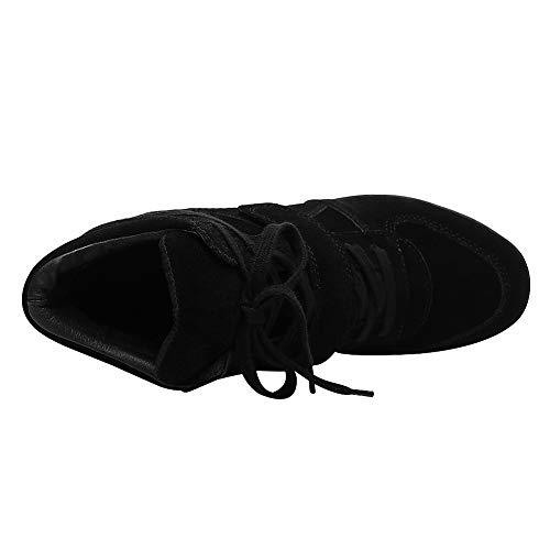 Caché Mode a Boucle Rismart Femmes Tennis Baskets Confort Crochet Compensé Noir Chaussures Talon qRxwzaTIH