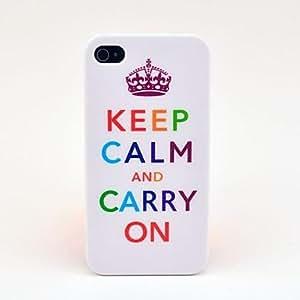 HOR Mantener la calma y seguir adelante protectora Funda carcasa para el iPhone 4 4s - Blanco