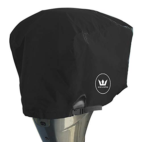 Windstorm Outboard Boat Motor Covers Heavy Duty 600D Polyester Marine Canvas - 9 Colors (Black, 50 to 115 HP) (Boat Motor Cover Johnson)