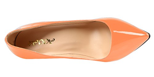 AOOAR Womens High Heel Solid Party Pumps Shoes Orange Patent OMS6SFV4