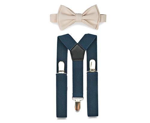 - Navy Suspenders Bow Tie Set for Baby Toddler Boy Teen Men    Weddings Prom Homecoming Quinceañera (3. Boy (7-12 yrs), Navy Suspenders, Cream Bow Tie)