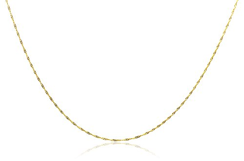 Chelsea Jewelry Basic Collections Italian Designed 1.6mm Wide 18K Gold Twisted Flat Chain Necklace. (22 (18k Twisted Necklace)