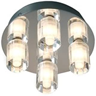 Robus, Crystal Cubed Circular Bathroom Ceiling Light, Polished Chrome