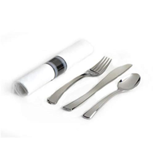 - OKSLO Glimmerware salad fork, dinner knife & teaspoon rolled cutlery kit, silver