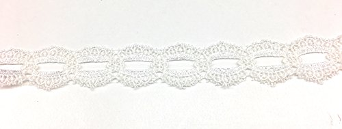 1.25'' Venice Lace Duel Scalloped Applique Sewing Trim Bridal Wedding Applique White 5 (1.25' Ribbon)
