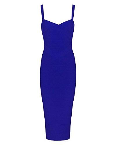 Whoinshop Women's Rayon Strap Celebrity Midi Evening Party Bandage Dress Blue L