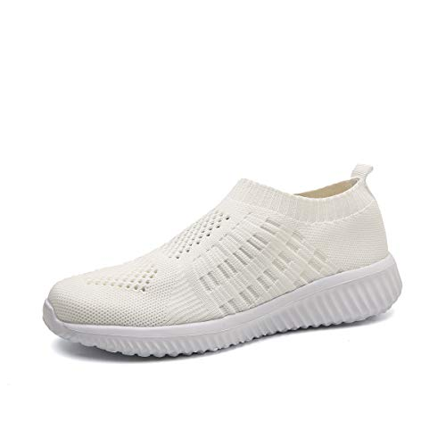 DMGYDAF Women's Lightweight Walking Athletic Shoes Breathable Mesh Sneakers Casual Running Shoes Ehite 39 White