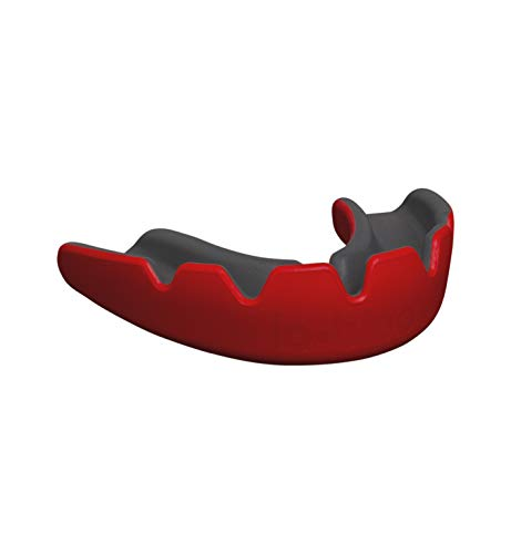 lo-bloo Slick Mouth Guard - Dual-Density Athletic MMA Mouthguard for High-Contact Sports (Martial Arts, BJJ Hockey, Football, Rugby, Ext (Red) (Guard Dual Mouth)