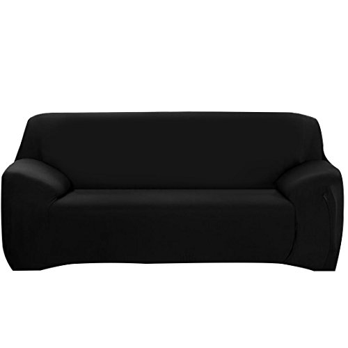 ELEOPTION Stretch Fabric Sofa Slipcover 1 2 3 4 Piece, Elastic Sectional Sofa Cover Slipcover Protector Couch Pure Color For Moving Furniture Living Room (Black, Three seater(70''-90'')) - Collection 3 Seat Sofa