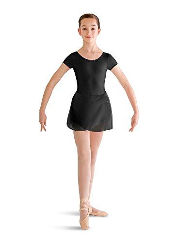 (Bloch Dance Girls Prisha Short Sleeve Leotard Dress, Black, 12)