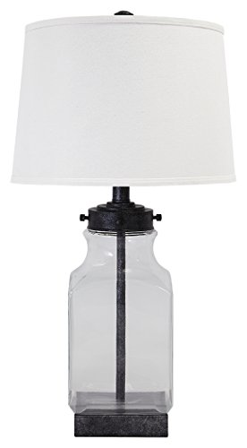 Ashley Furniture Signature Design - Sharolyn - Transparent Glass Table Lamp - Smoky Glass - Silver Accents - Clear (Trend Glass Table Lamp)
