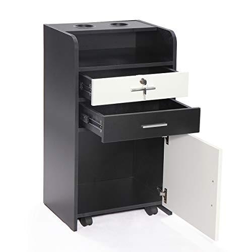 Rolling Beauty Salon 3-Layer Cabinet Salon w/Lockable Wood Drawer Trolley Spa Equipment (White)