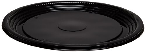 CaterLine Casuals Plastic Platter Round Tray, 12-Inch, Black, (25-Count)