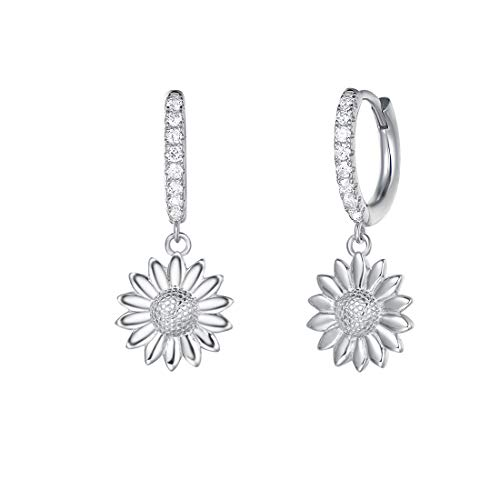 (Carleen White Gold Plated 925 Sterling Silver CZ Cubic Zirconia Sunflower Daisy Dangle Drop Flower Small Hoop Earrings For Women Girls)