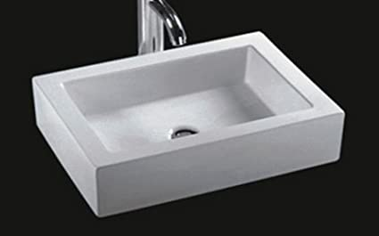 Bathroom Rectangular Ceramic Porcelain Vessel Vanity Sink 7241 + Free Pop  Up Drain With No Overflow
