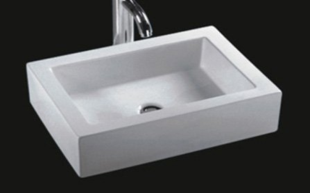 Top Mount Bathroom Sink - Bathroom Rectangular Ceramic Porcelain Vessel Vanity Sink 7241 + free Pop Up Drain with no overflow