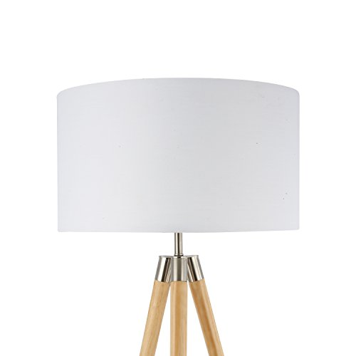 Light Society Celeste Tripod Floor Lamp, Natural Wood Legs with Satin Nickel Finish and White Fabric Shade, Mid Century Contemporary Modern Style (LS-F233-NAT)