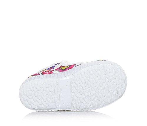 CIENTA - Weißer Schuh mit mehrfarbigem Blumenmuster, aus unbehandeltem ökologischem Stoff, Mädchen