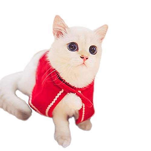 Pet Cloak 1PC Adorable Red Pet Cloak Christmas Dress Up for Dog Puppy Cat Rabbit Doggy Pig Small Pet Supplies Suit For Christmas, Easter, Halloween, Birthday Normal Use (Red, S)