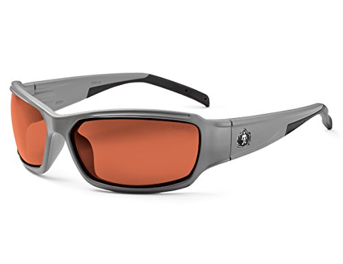 Skullerz Thor Polarized Safety Sunglasses - Matte Gray Frame, Polarized Copper (Frame Gray Polarized Lens)
