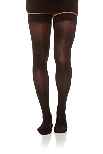 Jomi Compression, Unisex, Thigh High Stockings Collection, 15-20mmHg Sheer Closed Toe 145 (Small, Black)