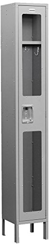 Salsbury Industries S-61162GY-U Single Tier 12-Inch Wide 6-Feet High 12-Inch Deep Unassembled See Through Metal Locker, Gray -