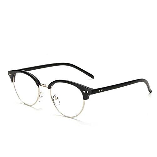 LOMEDO Classic Half Frame Clear Lens Plano Glasses Matt Black - Lenses Plano
