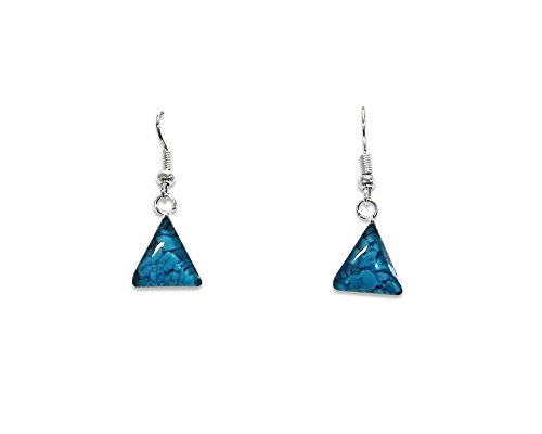Inlay Earrings (Turquoise) (Triangle Turquoise Inlay)