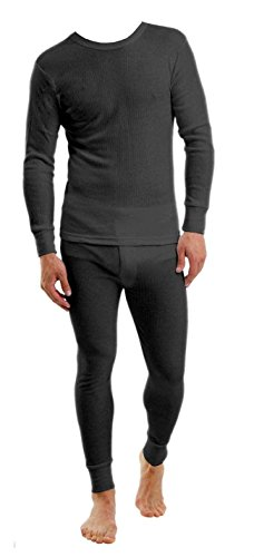 Men's Thermal SET 2pc Top and Bottom Underwear Long John Waffle Knit M L Xl 2xl 3xl (2XL, Black)