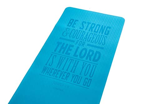 Double Creek Christian Scripture Eco Friendly Yoga Mat Non Slip Pilates Floor Exercises Meditation Joshua 1:9, Be Strong and Courageous Christian Inspirational Gift, 1/4 inch Thick for Women or Men