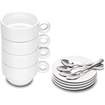 Porcelain Espresso Cups and Saucers, 2.5 Ounce Stackable Ceramic Espresso Mugs, Demitasse Cups Set with Mini Teaspoons Designed for Espresso Lovers Daily Use, 12 Pcs