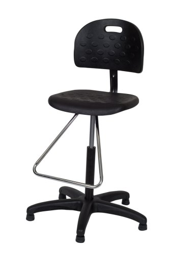 Ergo Ease 52045 Shop Chair, Workbench Height with Teardrop Footrest, Industrial Grade Polyurethane, Black and Chrome