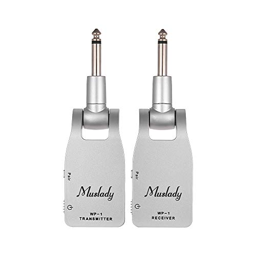Muslady Guitar System Transmitter & Receiver 2.4G Wireless Built-in Rechargeable Lithium Battery 30M Transmission Range for Electric Guitar Bass (Silver)