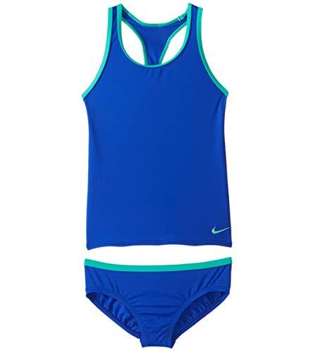 Nike Girls Core Solid Racerback Two Piece Tankini Set (Big Kid) Racer Blue Size -