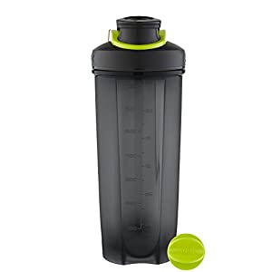 AVEX Mixfit Shaker Bottle with Carabiner Clip, 28oz, Charcoal