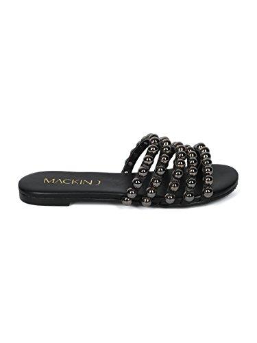 Sandalo Infradito Da Donna Aperto Al Ginocchio In Pelle Con Borchie - Hh21 By Mackinj Collection Similpelle Nera