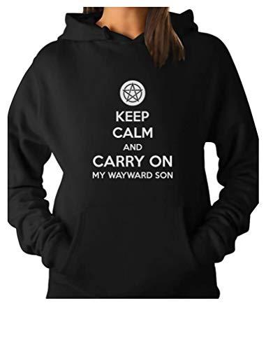TeeStars - Keep Calm and Carry On My Wayward Son Women Hoodie Medium Black