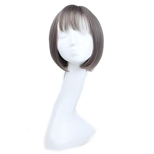 Lokijuge Bob Wig Short Straight Grey Highlights Light Purple Bob Wigs with Full Bangs for Women Daily Cosplay (Color : Photo Color) -